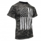Preview: Distressed US Flag Athletic Fit T-Shirt Black Camo