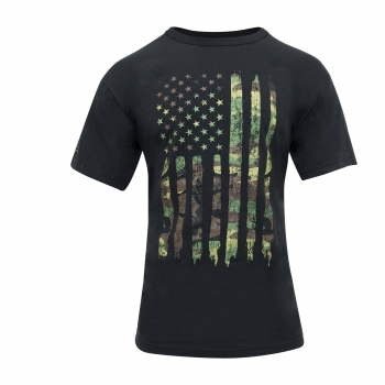 Distressed US Flag Athletic Fit T-Shirt camo