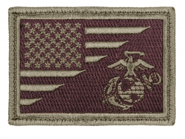 US Flag / USMC Globe and Anchor Morale Olive Drab Brown Klett Patch