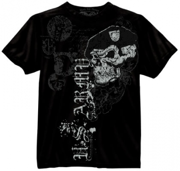 BLACK INK US ARMY SKULL WITH BERET SHIRT