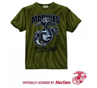 BLACK INK 1-SIDED - OLIVE DRAB ''MARINES'' GLOBAL & Anchor ''FIRST TO FIGHT'' SHIRT