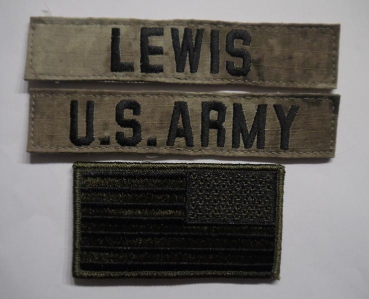 A-TACS US ARMY Name set LEWIS mit US Flagge