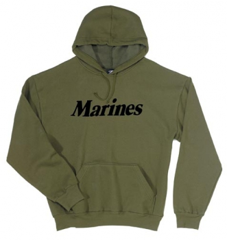 MARINES OLIVE DRAB HOODED PULLOVER SWEATSHIRTS