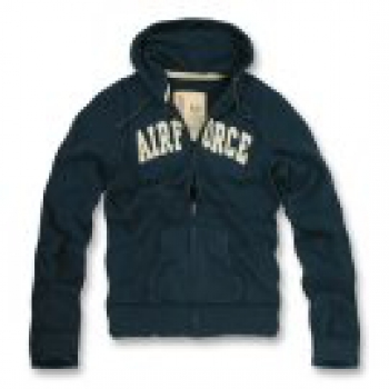 Classic G.I. Vintage Airforce Navy Blue Military Full Zip Hoodie