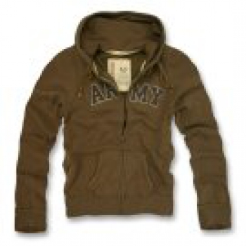 Classic G.I. Vintage Army Brown Military Full Zip Hoodie