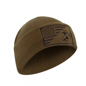 USMC Eagle Globe and Anchor US Flag Knit Watch Cap Coyote