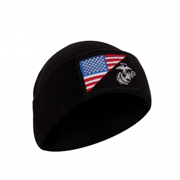 USMC Eagle Globe and Anchor US Flag Knit Watch Cap Black
