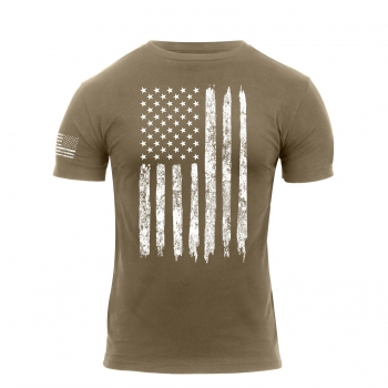 Distressed US Flag Athletic Fit T-Shirt Coyote Brown