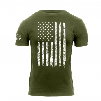 Distressed US Flag Athletic Fit T-Shirt Oliv Drab