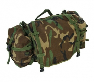 US Army Main Pack w 2 Sustainment MOLLE woodland camouflage Taschen