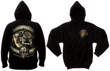 BLACK INK USMC BULLDOG HOODED PULLOVER SWEATSHIRT