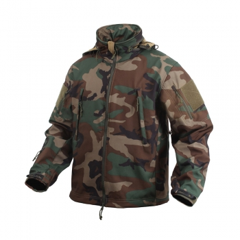 SPECIAL OPS TACTICAL SOFT SHELL FLEECE JACKE WOODLAND CAMOUFLAGE
