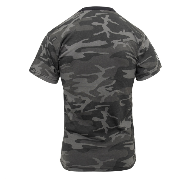 Distressed US Flag Athletic Fit T-Shirt Black Camo
