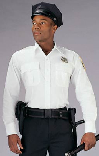 US POLICE AND SECURITY WHITE LONG SLEEVE UNIFORM HEMD