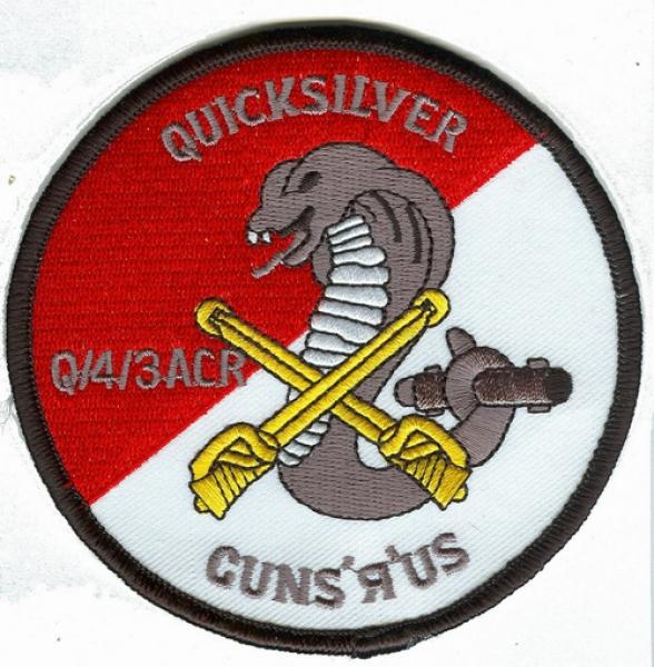 US Army 4th SQDN 3rd Air Cavalry QUICKSILVER GUNS`R`US Uniform patch