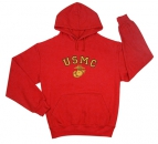 USMC RED HOODED PULLOVER SWEATSHIRTS