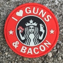 I LOVE GUNS AND BACON PVC Velcro patch